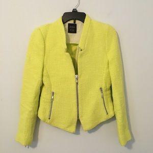 Zara Hot Neon Yellow Tweed Moto Blazer size M